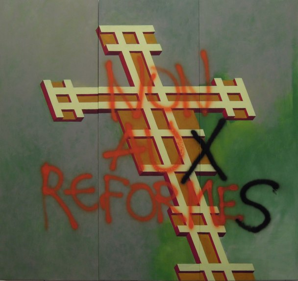 Eckhard Kremers 2013 Croce non auX reformeS (nach Giotto) [cross reform (after giotto)] 170x210cm